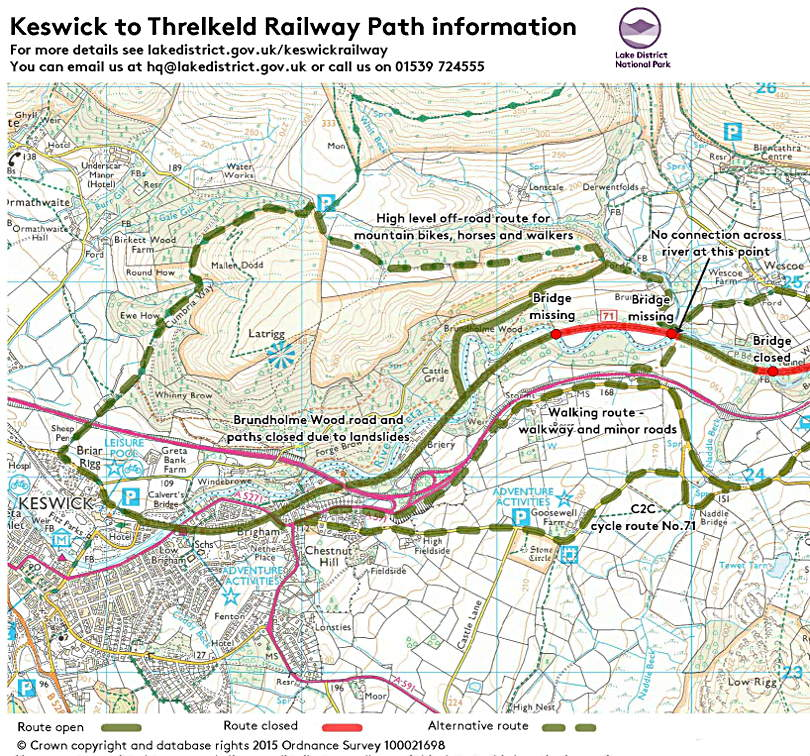 Keswick Railway Path diversion map