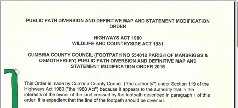 Public Path Diversion and Definitive Map and Statement Modification Order