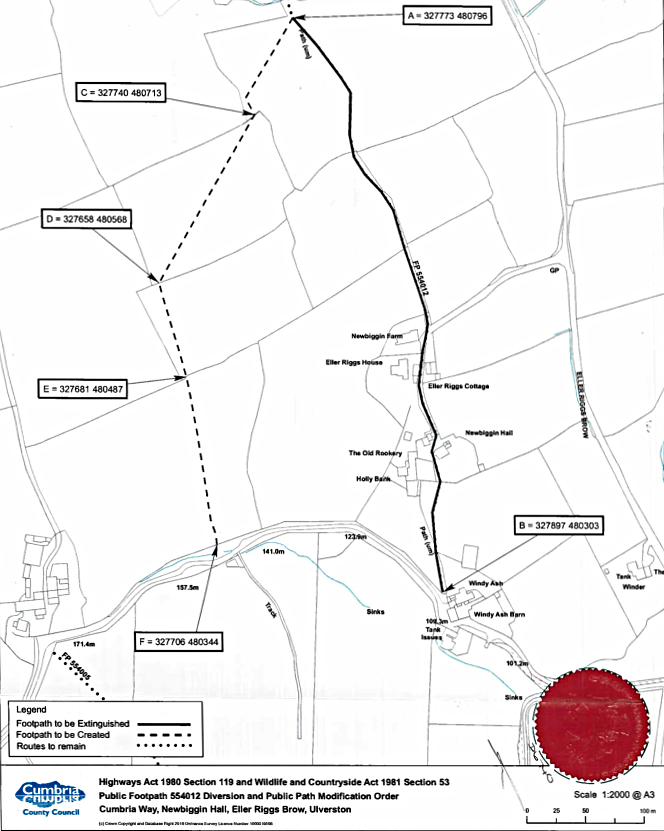Public Path Diversion and Definitive Map and Statement Modification Order Map