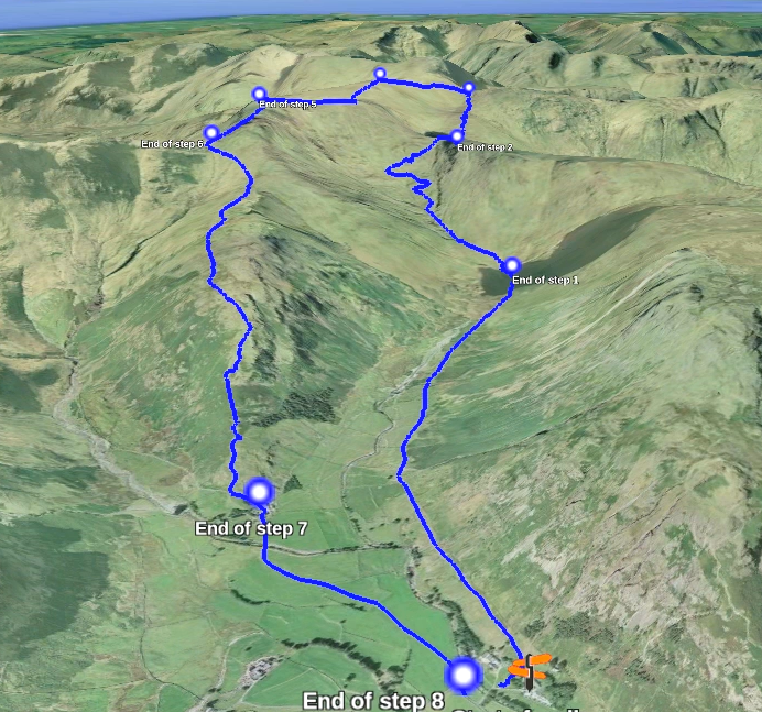 Walk 64 route displayed in Google Earth