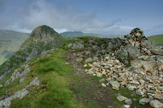 Loft Crag summit cairn, with Pike of Stickle