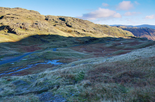 Down to the top of Wrynose and Three Shire Stone