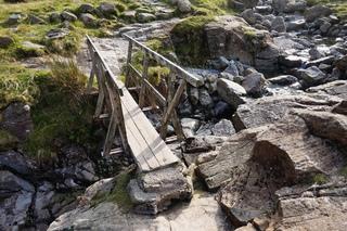 Wooden footbridge across Ruddy Gill