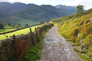 Bowfell, from the entrance to Mickleden