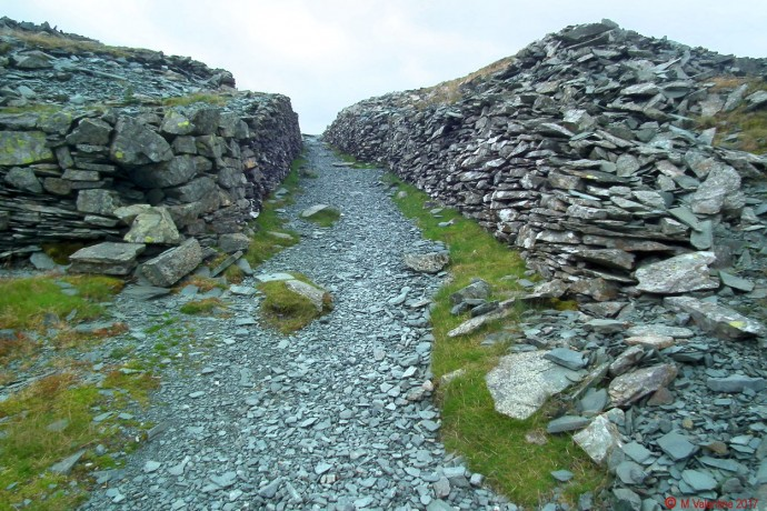 A pathway through Honister Slate Quarries.