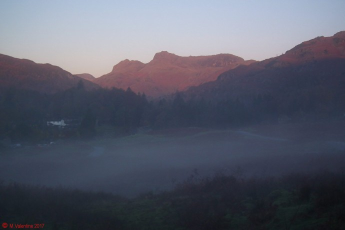 Sunrise on the Langdale Pikes.