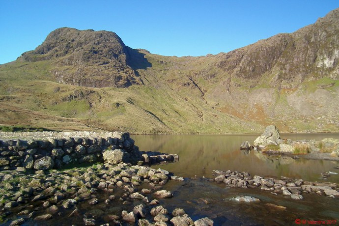 Harrison Stickle from Stickle Tarn dam.
