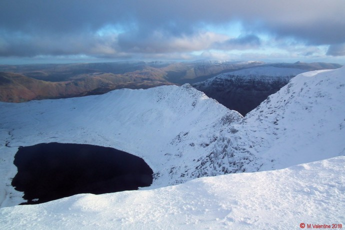 Striding Edge from Helvellyn's summit plateau.