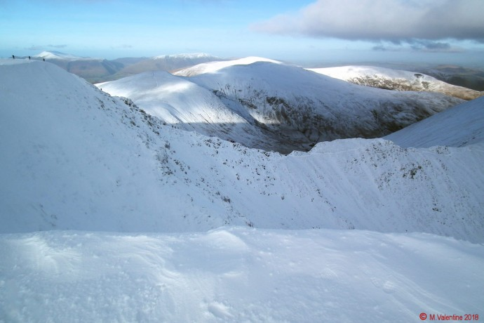 Swirral Edge from Helvellyn's summit plateau.