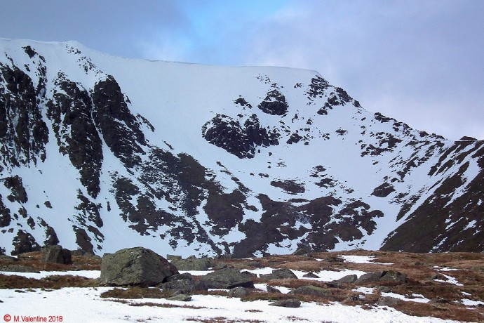 Swirral Edge, and cornices above the Red Tarn bowl.