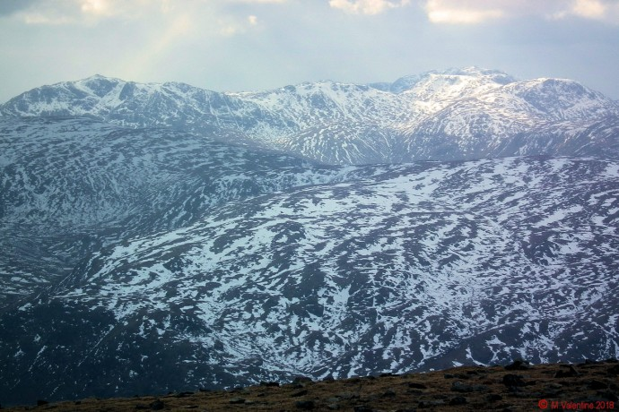 Bowfell to Great End, taken from Helvellyn summit shelter.