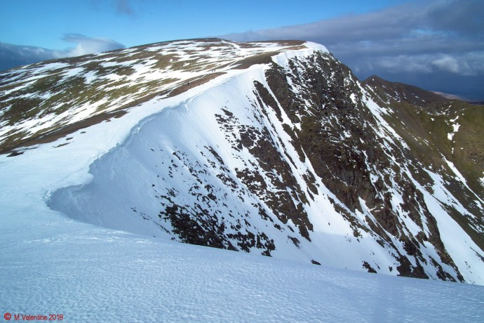 Looking back to Helvellyn from the ridge towards Nethermost Pike.