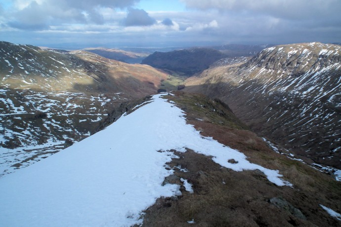 Looking down Grisedale Valley from Dollywaggon Pike summit.