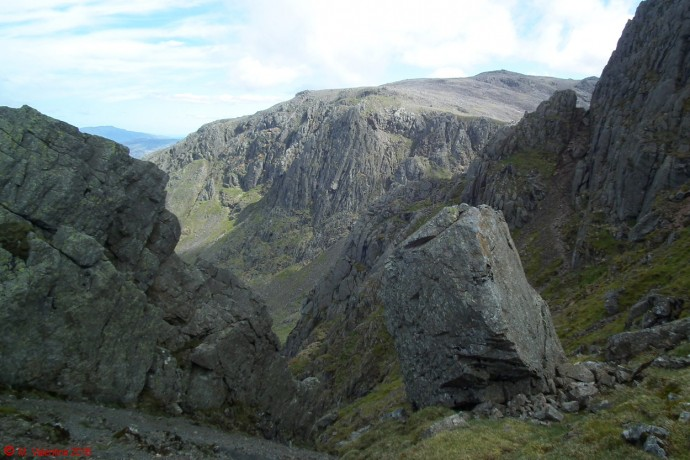 Looking back to Scafell Pike.