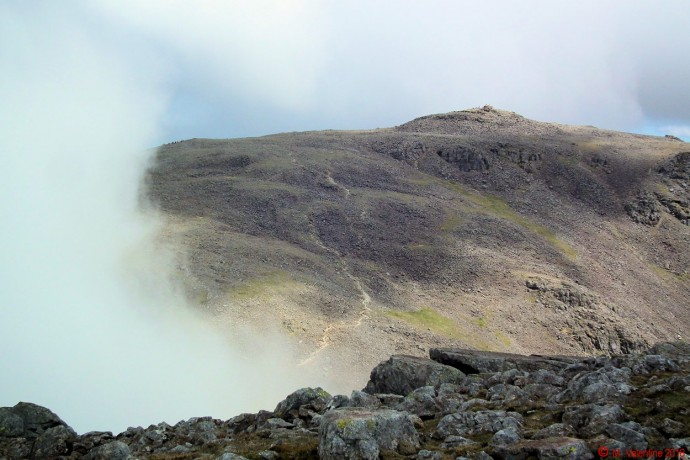 Scafell Pike from Scafell summit plateau.
