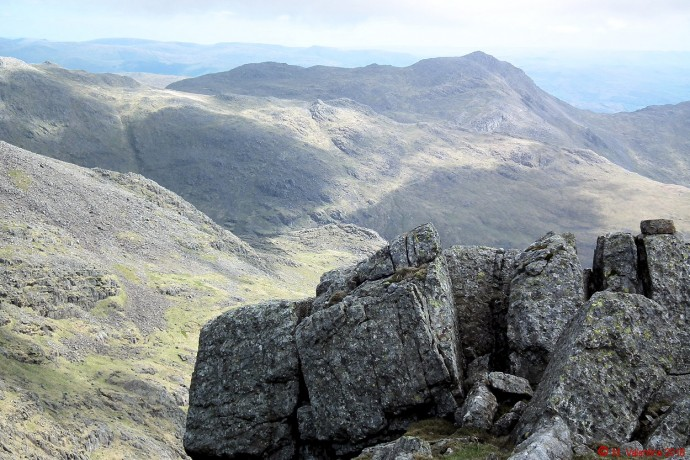 Bowfell from Scafell.