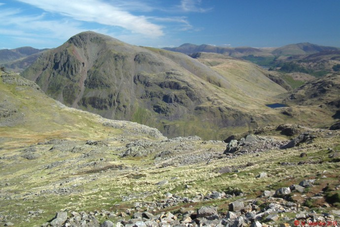Great Gable from flanks of Scafell Pike.