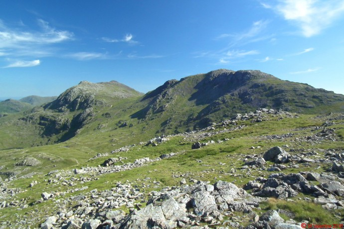 Bowfell & Esk Pike from Allen Crags.