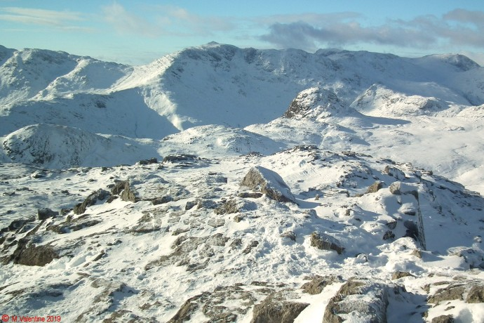 Bowfell etc. from Harrison Stickle summit.