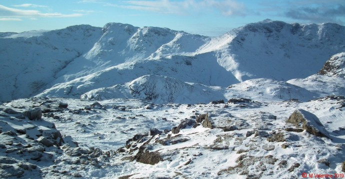 Crinkle Crags and Bowfell from Harrison Stickle summit.