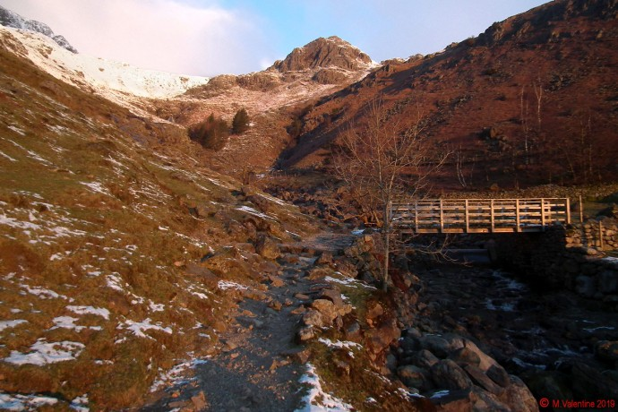 The view up Stickle Ghyll towards Tarn Crag.