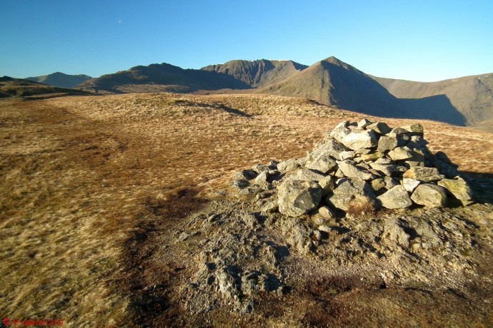 Helvellyn from Birkhouse Moor's northerly cairn.