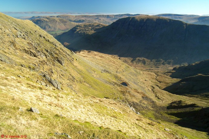 Ruthwaite Cove from High Crag plateau.