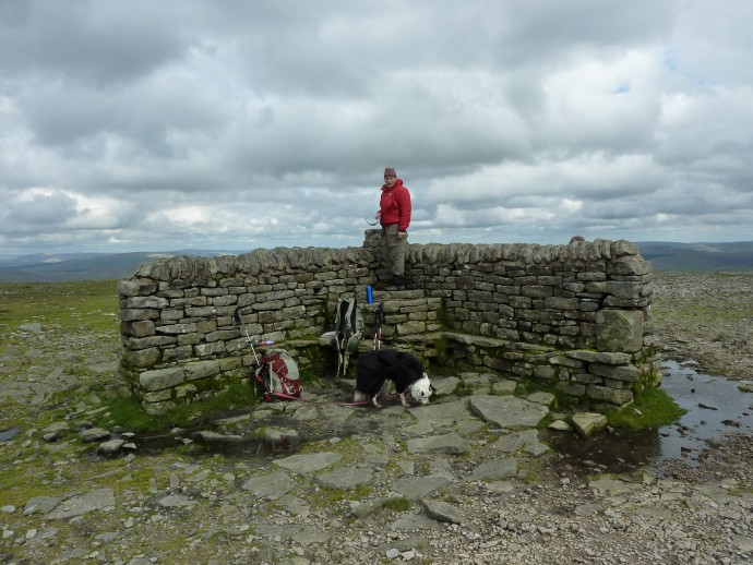 Beth and Jake at the summit shelter, one of the best features of Ingleborough