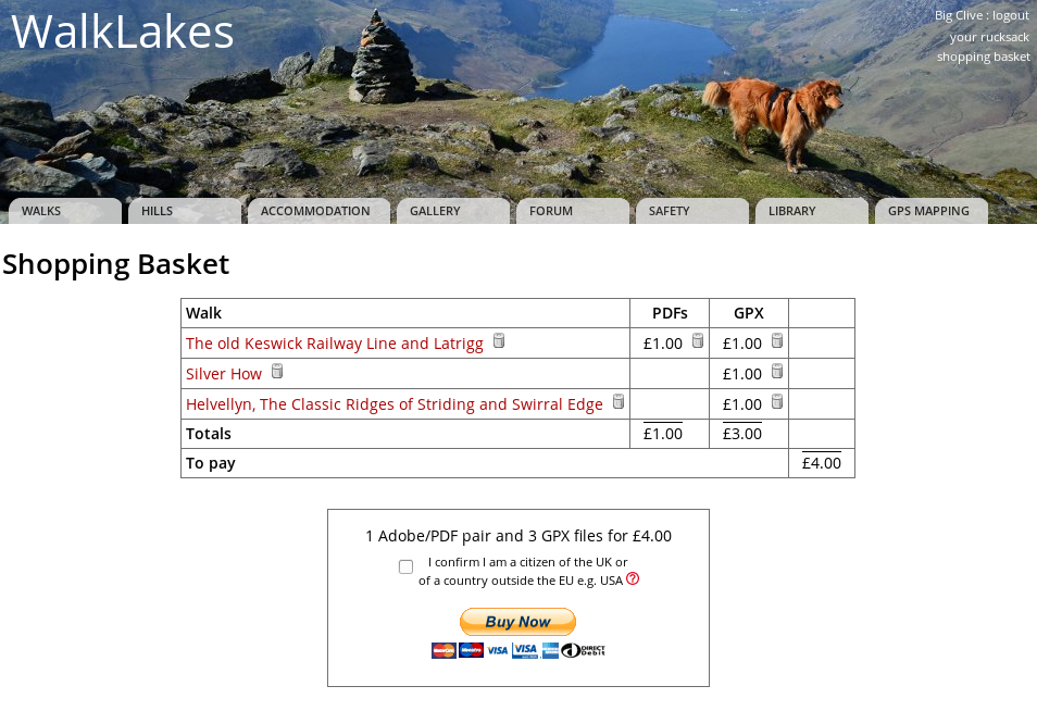 WalkLakes • Paying for Walk PDFs and GPX routes
