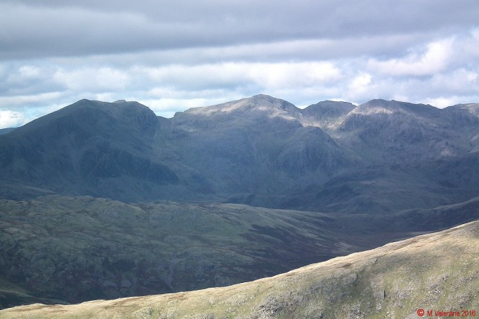 The Scafell range, taken from summit of Dow Crag.