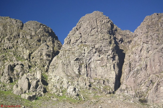 Impressive buttresses and Gullies of Dow Crag.