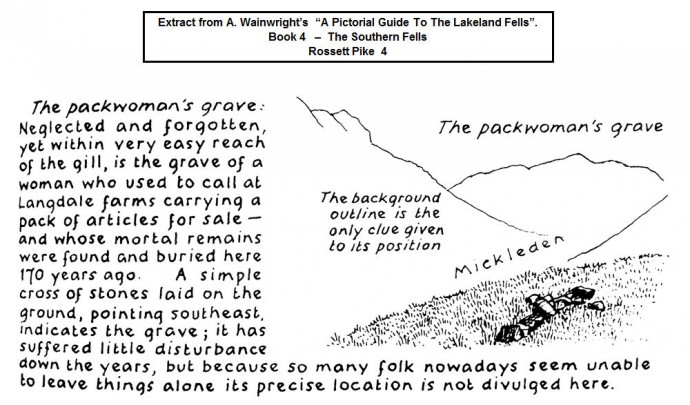The Packwoman's Grave - Extract from Wainwright's Guide (1960).