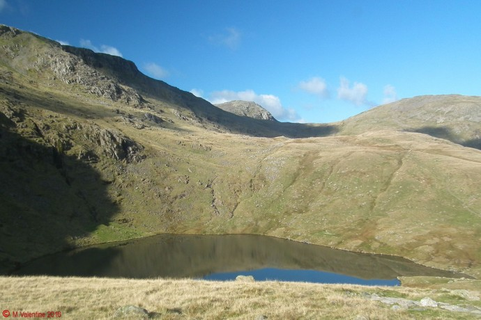 Great End comes into view beyond Angle Tarn.