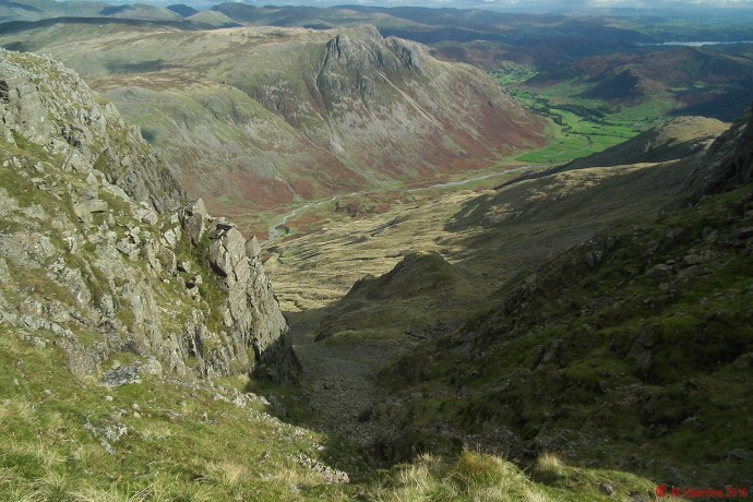 Looking across Langdale from the top of the steep scree slope next to Bowfell Buttress.