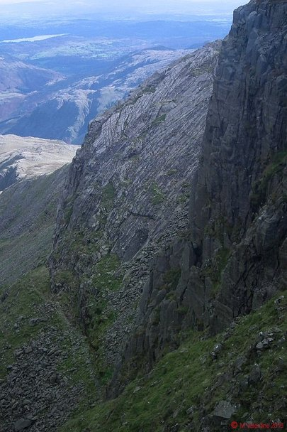 Looking down to the Great Slab & Climber's Traverse.