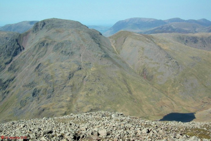Great Gable, Green Gable, and Sty Head Tarn, from Great End summit.