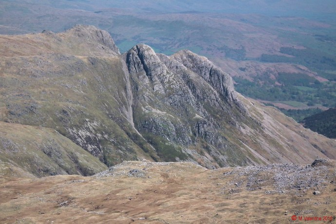 The Langdale Pikes from Great End summit plateau.