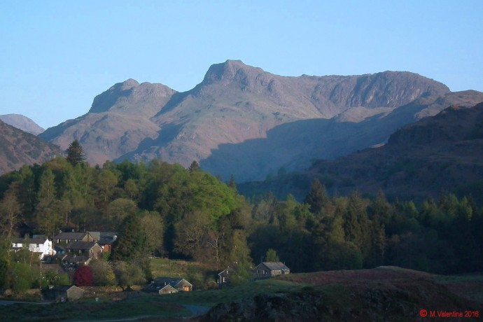 Early morning sun on The Langdale Pikes.