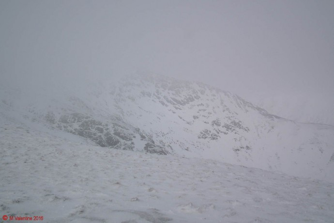 Looking across to Sharp Edge as the mist came in.
