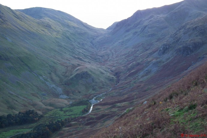 Looking back to the head of Grisedale from the path back down to Patterdale.