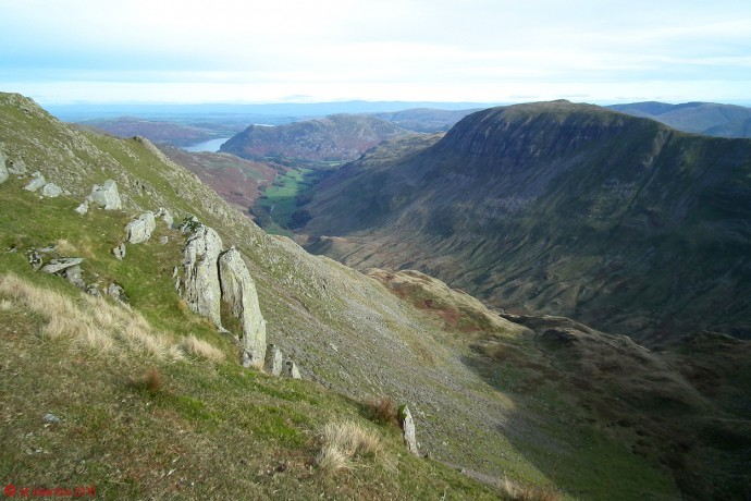 Looking east along Grisedale, with Ullswater in the distance, and St. Sunday Crag to right hand side.