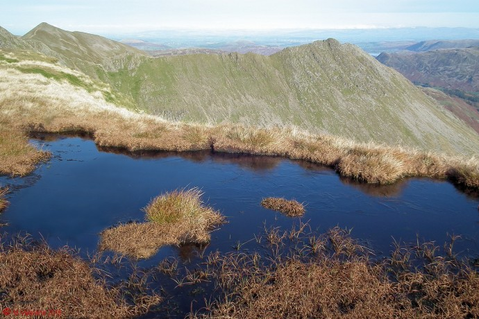 An ice covered bog-pool on Nethermost Pike summit ridge, with Striding Edge beyond.