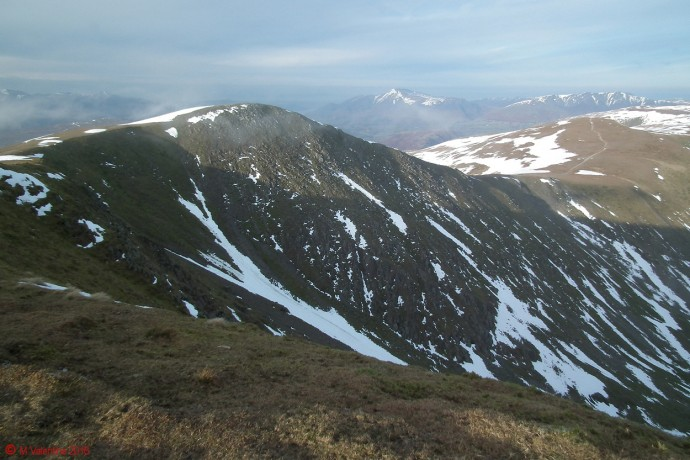 Looking northwards to Helvellyn Lower Man.