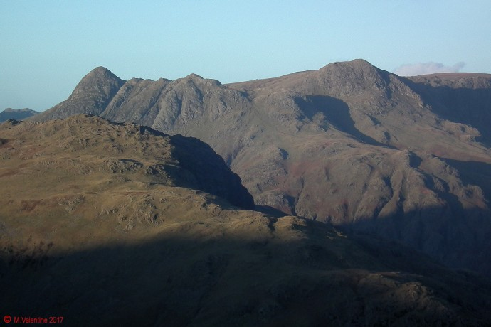 Langdale Pikes from Wetherlam Edge.