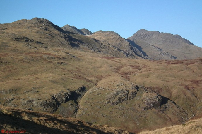 Cold Pike, Great Knott, Crinkle Crags, & Bowfell.