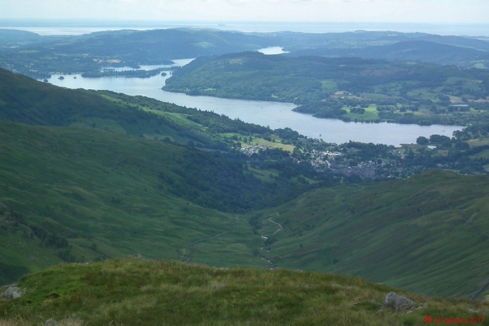 Windermere, with Morecambe Bay beyond.