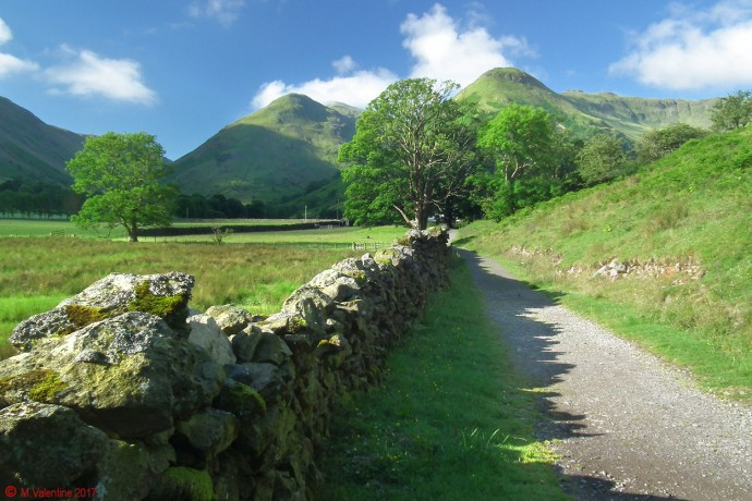 Approaching Hartsop Hall, with Middle Dodd, High Hartsop Dodd, etc. in view.