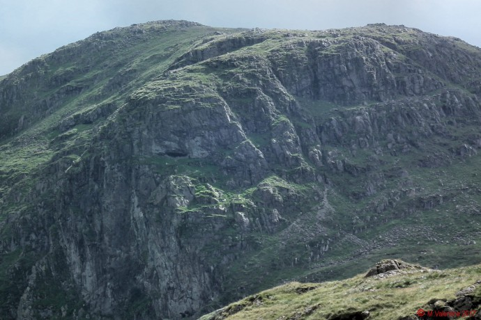 Priest's Hole Cave on Dove Crag, from Hartsop above How ridge.