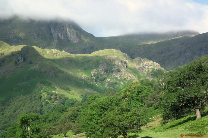 Cloud capped Dove Crag from Hartsop Hall intake.