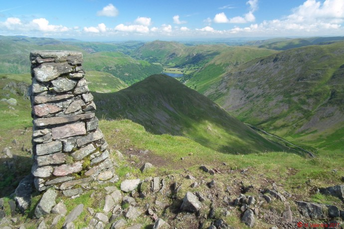 Looking across Middle Dodd and Brothers Water, from Red Screes summit.